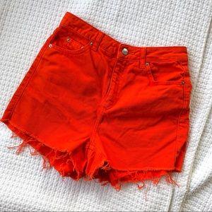 Topshop Moto Orange Frayed High Waisted Mom Shorts